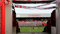 Flags and Banners on display on the Braemar Road Stand at Brentford FC as their last ever match is due to be played behind closed doors owing to the Coronavirus Pandemic during Brentford vs Swansea City, Sky Bet EFL Championship Play-Off Semi-Final 2nd Leg Football at Griffin Park on 29th July 2020
