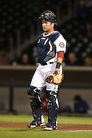 Mesa Solar Sox catcher Spencer Kieboom (20) during an Arizona Fall League game against the Peoria Javelinas on October 16, 2014 at Cubs Park in Mesa, Arizona.  Mesa defeated Peoria 6-2.  (Mike Janes/Four Seam Images)