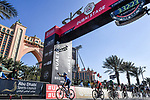 Sam Bennett (IRL) Deceuninck-Quick Step outsprints Elia Viviani (ITA) Cofidis to win Stage 6 of the 2021 UAE Tour running 165km from Deira Island to Palm Jumeirah, Dubai, UAE. 26th February 2021.<br /> Picture: LaPresse/Gian Mattia D'Alberto   Cyclefile<br /> <br /> All photos usage must carry mandatory copyright credit (© Cyclefile   LaPresse/Gian Mattia D'Alberto)