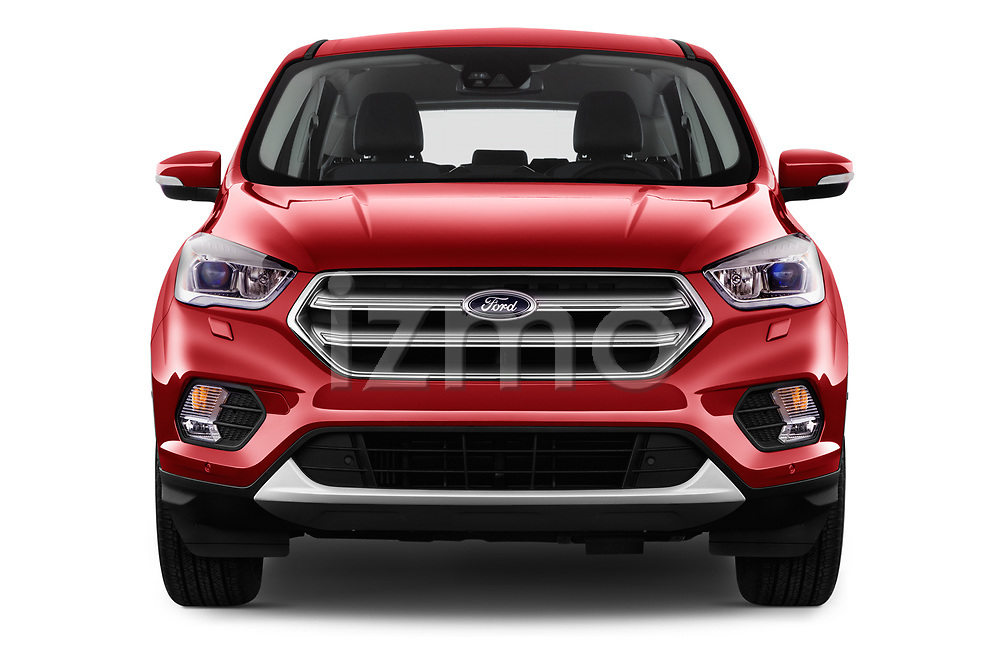 Car photography straight front view of a 2017 Ford Kuga Titanium 5 Door SUV Front View