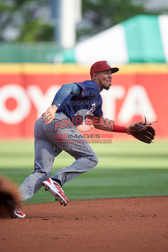 Lehigh Valley IronPigs shortstop J.P. Crawford (3) fields a ground ball during a game against the Buffalo Bisons on July 9, 2016 at Coca-Cola Field in Buffalo, New York.  Lehigh Valley defeated Buffalo 9-1 in a rain shortened game.  (Mike Janes/Four Seam Images)