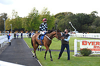 Winner of The Consign With Byerley Stud Handicap (Div 1)     The Kings Steed (left) ridden by Kieran Shoemark and trained by Shaun Lycett is led into the Winners enclosure during Horse Racing at Salisbury Racecourse on 1st October 2020