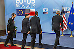 José Manuel Barroso, third left, President of the European Commission, The United States President Barack Obama and Herman Van Rompuy, President of the European Council walk for a shake hands welcomed, prior a meeting of the EU-US Summit in Council of Europe, in Brussels, Wednesday 26, March 2014.<br /> This is the first visit for President Barack Obama to the European Institutions in Brussels. Photo by Delmi Alvarez