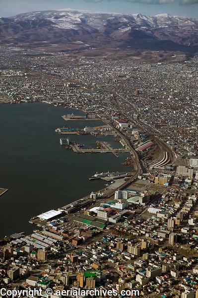 aerial photograph of Hakodate waterfront, Hokkaido, Japan