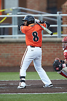 Waldy Arias (8) of the Campbell Camels at bat against the Dayton Flyers at Jim Perry Stadium on February 28, 2021 in Buies Creek, North Carolina. The Camels defeated the Flyers 11-2. (Brian Westerholt/Four Seam Images)