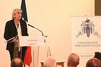 ConfÈrence de presse de Marine Le Pen ‡ Paris, le 13/03/2017.