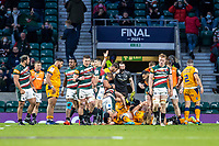 21st May 2021; Twickenham, London, England; European Rugby Challenge Cup Final, Leicester Tigers versus Montpellier; Harry Wells of Leicester Tigers scores a try to level the score