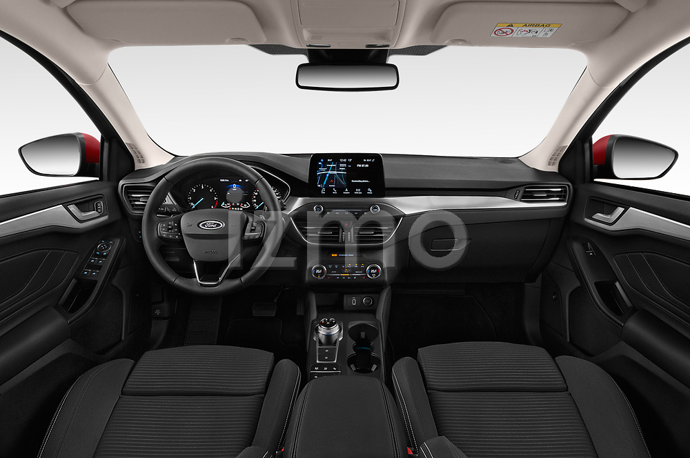 Stock photo of straight dashboard view of a 2019 Ford Focus Titanium Business 5 Door Hatchback