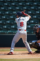Matt Kroon (8) of the Lakewood BlueClaws at bat against the Hickory Crawdads at L.P. Frans Stadium on April 28, 2019 in Hickory, North Carolina. The Crawdads defeated the BlueClaws 10-3. (Brian Westerholt/Four Seam Images)