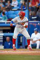 Clearwater Threshers Drew Stankiewicz (15) squares to bunt during a game against the Dunedin Blue Jays on April 8, 2017 at Florida Auto Exchange Stadium in Dunedin, Florida.  Dunedin defeated Clearwater 12-6.  (Mike Janes/Four Seam Images)