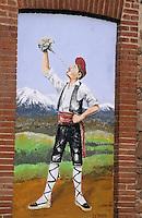 Europe/France/Languedoc-Roussillon/66/Pyrénées-Orientales/Vallespir/St-Laurent-de-Cerdan: Mur peint représentant un catalan buvant au pourou