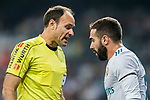 Referee Antonio Miguel Mateu Lahoz (l) talks to Daniel Carvajal Ramos of Real Madrid during the La Liga 2017-18 match between Real Madrid and Real Betis at Estadio Santiago Bernabeu on 20 September 2017 in Madrid, Spain. Photo by Diego Gonzalez / Power Sport Images