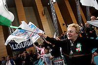 Sostenitori del Popolo della Liberta'  durante una manifestazione elettorale a Roma, 28 marzo 2008..Supporters of the People of Freedom wave flags during an electoral rally of in Rome, 28 march 2008..UPDATE IMAGES PRESS/Riccardo De Luca