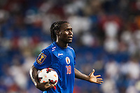 Haiti forward Leonel Saint Preux (18) questions a call. Honduras defeated Haiti 2-0 during a CONCACAF Gold Cup group B match at Red Bull Arena in Harrison, NJ, on July 8, 2013.