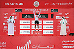 Race leader Tadej Pogacar (SLO) UAE Team Emirates also retakes the White Jersey at the finish of Stage 5 of the 2021 UAE Tour running 170km from International Marine Club Fujairah to Jebel Jais, Fujairah, UAE. 25th February 2021. <br /> Picture: LaPresse/Gian Mattia D'Alberto   Cyclefile<br /> <br /> All photos usage must carry mandatory copyright credit (© Cyclefile   LaPresse/Gian Mattia D'Alberto)