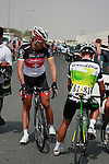Fabian Cancellara (SUI) Radioshack-Nissan Trek chats with Robbie McEwen (AUS) Greenedge Cycling Team before the start of the 1st Stage of the 2012 Tour of Qatar running from Umm Slal Mohammed to Doha Golf Club, Doha, Qatar, 5th February 2012 (Photo Eoin Clarke/Newsfile)