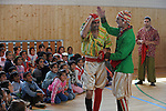 "Members of the Roma or gypsy theater Romathan perform for young children in ""Dwarf"" at the Banske Elementary School with a Roma or gypsy majority student body in Banske, Slovakia on June 2, 2010."