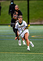 17 April 2021: University of Vermont Catamount Defender Carolyn Carrera, a Junior from Harriman, NY, in action against the UMBC Retrievers at Virtue Field in Burlington, Vermont. The Lady Cats fell to the Retrievers 11-8 in the America East Women's Lacrosse matchup. Mandatory Credit: Ed Wolfstein Photo *** RAW (NEF) Image File Available ***
