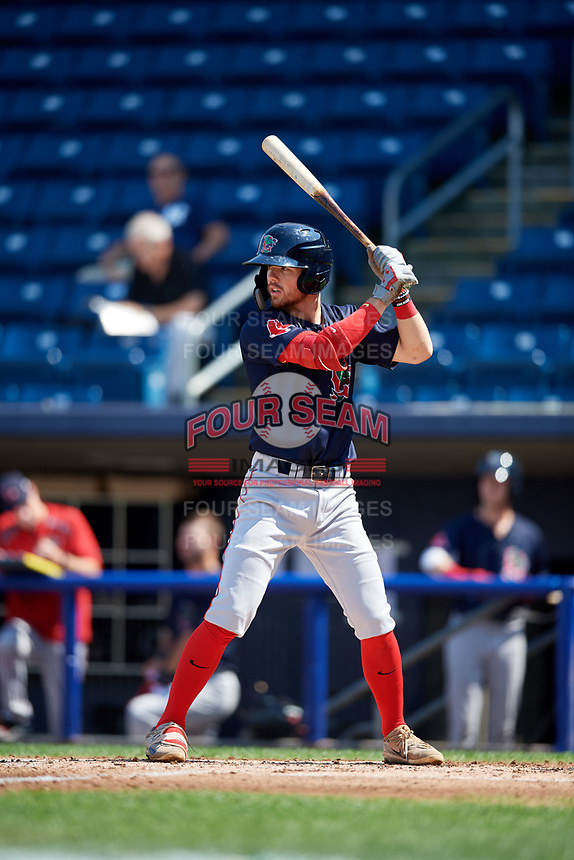 Lowell Spinners shortstop Korby Batesole (12) at bat during a game against the Staten Island Yankees on August 22, 2018 at Richmond County Bank Ballpark in Staten Island, New York.  Staten Island defeated Lowell 10-4.  (Mike Janes/Four Seam Images)
