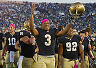 Oct. 8, 2011; Michael Floyd celebrates the 59-33 win over Air Force...Photo by Matt Cashore