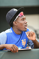 Shortstop Ronny Mauricio (2) of the Columbia Fireflies, the New York Mets top prospect according to Baseball America, shouts encouragement to teammates as they are introduced before a game against the Hickory Crawdads on Tuesday, August 27, 2019, at Segra Park in Columbia, South Carolina. Columbia won, 3-2. (Tom Priddy/Four Seam Images)