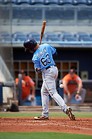 Tampa Bay Rays Dawson Dimon (63) gets hit by a pitch during a Florida Instructional League game against the Baltimore Orioles on October 1, 2018 at the Charlotte Sports Park in Port Charlotte, Florida.  (Mike Janes/Four Seam Images)