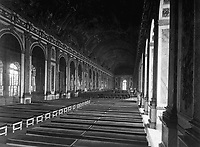 Interior of the Galerie des Glaces showing the arrangement of tables for the signing of Peace Terms, Versailles, France.  June 27, 1919.  Lt. M.S. Lentz.  (Army)<br /> NARA FILE #:  111-SC-159294<br /> WAR & CONFLICT BOOK #:  723