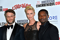 LOS ANGELES, USA. November 09, 2019: Seth Rogen, Charlize Theron & David Oyelowo at the American Cinematheque Award Gala honoring Charlize Theron at the Beverly Hilton.<br /> Picture: Paul Smith/Featureflash