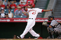 Los Angeles Angels second baseman Howie Kendrick #47 bats against the Seattle Mariners at Angel Stadium on July 9, 2011 in Anaheim,California. (Larry Goren/Four Seam Images)