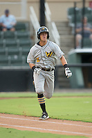 Logan Ratledge (6) of the West Virginia Power hustles down the first base line against the Kannapolis Intimidators at Kannapolis Intimidators Stadium on August 20, 2016 in Kannapolis, North Carolina.  The Intimidators defeated the Power 4-0.  (Brian Westerholt/Four Seam Images)