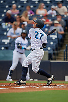 Tampa Tarpons Wilkerman Garcia (27) bats during a Florida State League game against the Jupiter Hammerheads on July 26, 2019 at George M. Steinbrenner Field in Tampa, Florida.  Tampa defeated Jupiter 2-0.  (Mike Janes/Four Seam Images)