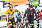 Race leader Tadej Pogacar (SLO) UAE Team Emirates and Richard Carapaz (ECU) Ineos Grenadiers sprint for the finish line at the end of Stage 16 of the 2021 Tour de France, running 169km from Pas de la Case to Saint-Gaudens, Andorra. 13th July 2021.  <br /> Picture: A.S.O./Charly Lopez   Cyclefile<br /> <br /> All photos usage must carry mandatory copyright credit (© Cyclefile   A.S.O./Charly Lopez)
