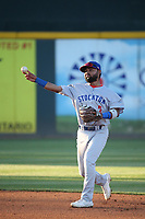 Sahid Valenzuela (2) of the Stockton Ports during a game against the Rancho Cucamonga Quakes at LoanMart Field on May 26, 2021 in Rancho Cucamonga, California. (Larry Goren/Four Seam Images)