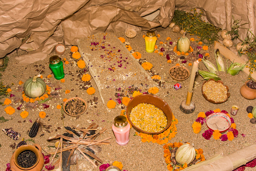 Oaxaca, Mexico, North America.  Day of the Dead Celebrations.  An Altar in Memory of the Dead using only Pre-Hispanic, Pre-Christian Motifs and Themes.  San Miguel Cemetery, Oaxaca.