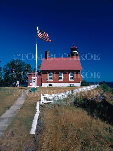 Eagle Harbor lighthouse on Lake Superior in the Keweenaw peninsula of the Upper Peninsula of Michigan.