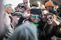 selfie with race winner Alejandro Valverde (ESP/Movistar)<br /> <br /> 81st Flèche Wallonne 2017 (1.UWT)<br /> 1day race: Binche > Huy 200,5KM