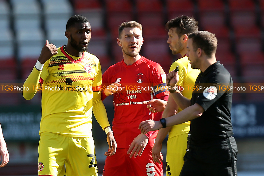 Craig Clay of Leyton Orient protests to the referee during Leyton Orient vs Walsall, Sky Bet EFL League 2 Football at The Breyer Group Stadium on 5th April 2021