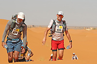 4th October 2021; Tisserdimine to Kourci Dial Zaid;  Marathon des Sables, stage 2 of  a six-day, 251 km ultramarathon, which is approximately the distance of six regular marathons. The longest single stage is 91 km long. This multiday race is held every year in southern Morocco, in the Sahara Desert. Andrew Cooper (GB) in the dunes