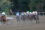 September 19, 2015. War Story (left) trails the field as the horses round the first turn in the $1,000,000 Grade II Pennsylvania Derby, one and 1/8th miles for three-year-olds, at  Parx Racing in Bensalem, PA. (Joan Fairman Kanes/ESW/CSM)