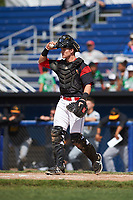 Batavia Muckdogs catcher Alex Jones (43) during a game against the West Virginia Black Bears on June 25, 2017 at Dwyer Stadium in Batavia, New York.  Batavia defeated West Virginia 4-1 in nine innings of a scheduled seven inning game.  (Mike Janes/Four Seam Images)