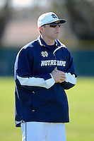 Notre Dame Fighting Irish coach Eddie Smith #55 before a game against the Mercer Bears at the Buck O'Neil Complex on February 17, 2013 in Sarasota, Florida.  Mercer defeated Notre Dame 5-4.  (Mike Janes/Four Seam Images)