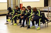 Wednesday 26 February 2014<br /> Pictured L-R: Marvin Emnes, Jonathan de Guzman, Jose Canas, Roland Lamah and Dwight Tiendalli at Napoli Airport.<br /> Re: Swansea City FC travel to Italy for their UEFA Europa League game against Napoli.