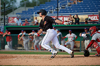 Batavia Muckdogs Nic Ready (5) bats during a NY-Penn League game against the Auburn Doubledays on June 19, 2019 at Dwyer Stadium in Batavia, New York.  Batavia defeated Auburn 5-4 in eleven innings in the completion of a game originally started on June 15th that was postponed due to inclement weather.  (Mike Janes/Four Seam Images)