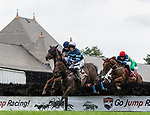 August 18, 2021: #2 Gibralfaro (IRE) ridden by Graham Waters clears a hurdle during the running of the Grade 1 Jonathan Sheppard Handicap at Saratoga Race Course in Saratoga Springs, N.Y. on August 18th, 2021.<br /> Robert Simmons/Eclipse Sportswire/CSM