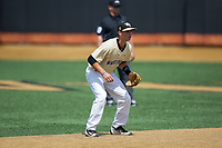 Wake Forest Demon Deacons shortstop Bruce Steel (17) on defense against the Pitt Panthers at David F. Couch Ballpark on May 20, 2017 in Winston-Salem, North Carolina. The Demon Deacons defeated the Panthers 14-4.  (Brian Westerholt/Four Seam Images)