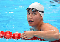 August 01, 2012..Ranomi Kromowidjojo reacts after competing in Women's 100m Freestyle Semifinal at the Aquatics Center on day five of 2012 Olympic Games in London, United Kingdom.