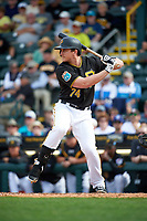 Pittsburgh Pirates third baseman Dan Gamache (74) at bat during a Spring Training game against the Toronto Blue Jays  on March 3, 2016 at McKechnie Field in Bradenton, Florida.  Toronto defeated Pittsburgh 10-8.  (Mike Janes/Four Seam Images)