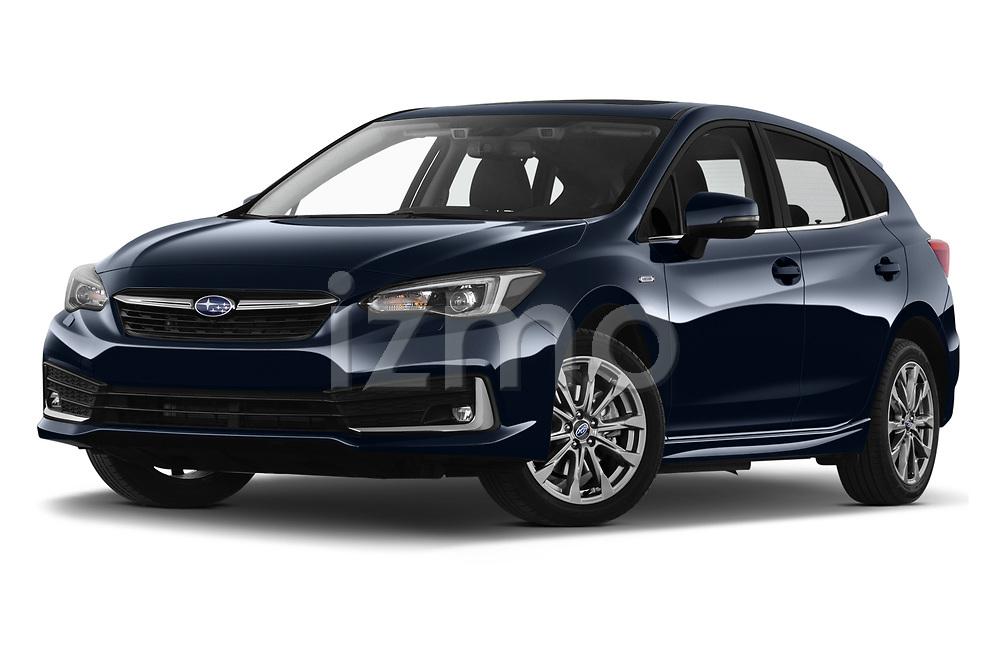 Stock pictures of low aggressive front three quarter view of 2021 Subaru Impreza Premium 5 Door Hatchback Low Aggressive