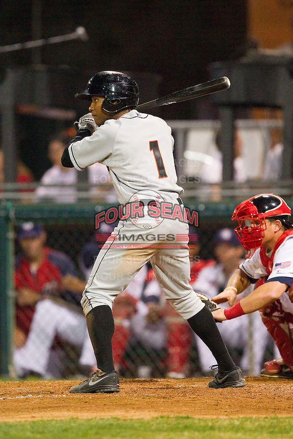 Gregory Lorenzo (1) of the Delmarva Shorebirds at bat against the Hagerstown Suns at Municipal Stadium on April 11, 2013 in Hagerstown, Maryland.  The Shorebirds defeated the Suns 7-4 in 10 innings.  (Brian Westerholt/Four Seam Images)