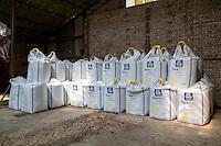 600kg bags of compound nitrogen and sulphur fertilser in a farm building - Lincolnshire, June
